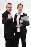 We want you. Man standing beside a women and pointing at the camera Royalty Free Stock Images