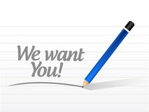 We want you message sign illustration Royalty Free Stock Photo