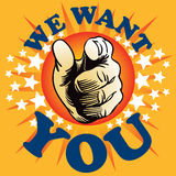 We Want You. A poster of the words We Want You with a finger pointing Royalty Free Stock Photo