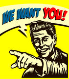 Want you! Retro businessman with pointing finger, job vacancy we're hiring now sign, comic book style  illustration Royalty Free Stock Images
