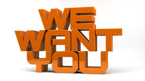 We want you. Text and white background vector illustration
