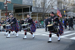 Wantagh American Legion Pipe Band marching at the St. Patrick`s Day Parade in New York Stock Photo