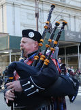 Wantagh American Legion Pipe Band marching at the St. Patrick`s Day Parade in New York Royalty Free Stock Images