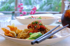 Wantan Mee with Sliced Chicken Royalty Free Stock Images