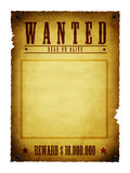Wanted. An illustration of an old style wanted poster Royalty Free Stock Photography