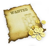 Wanted. Isolated on a white background Royalty Free Stock Images