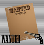 Wanted. Abstract colorful illustration with revolver and an old wanted poster glued to a metallic wall Stock Image