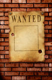 Wanted. The wild West. Old poster on brick wall Stock Image