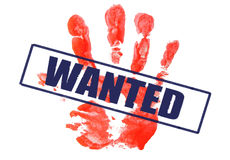 WANTED!. A marked with wanted stamp red palmprint Royalty Free Stock Photography