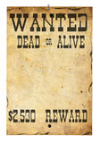Wanted. Old aged and tinted paper with wanted dead or alive Stock Images