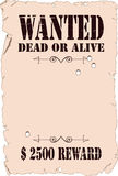 Wanted. The poster about search of the criminal in style of the wild West Royalty Free Stock Photos