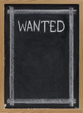 Wanted - blank blackboard sign Stock Photos