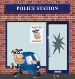 Wanted burglar. Breaking into a police station Royalty Free Stock Image