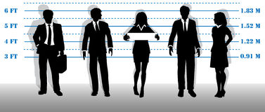Wanted business people lineup mugshot. A company of most wanted white collar business people lined up in a line up Stock Images