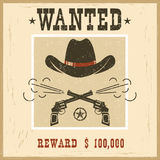 Wanted card.Western vintage paper Stock Image