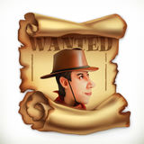 Wanted cowboy. Old paper scroll. Vector icon Stock Photos