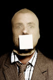 Wanted criminal with a crime stoppers sticky note Stock Photos