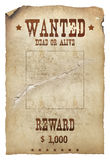 Wanted dead or alive. Old western poster wanted dead or alive Royalty Free Stock Images