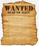 Wanted Dead or Alive. Poster with blank spot for photo Stock Photos
