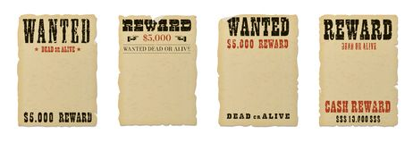 Wanted dead or alive blank poster template vector illustration