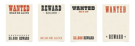 Wanted dead or alive blank poster template royalty free illustration
