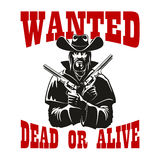 Wanted dead or alive poster with armed cowboy Stock Image