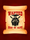 Wanted dead or alive poster of mexican bandit Royalty Free Stock Image