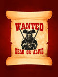 Wanted dead or alive vector poster. Wanted dead or alive western vector poster. Eloped bandit jailer, wanted cowboy or musketeer in tricorn hat armed with swords Royalty Free Stock Images