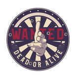 Wanted dead or alive vector sign, gun hand gesture. Royalty Free Stock Photo