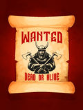 Wanted dead or alive warrior viking vector poster Royalty Free Stock Image