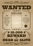 Wanted dead or alive western old vintage vector poster with distressed texture. Wanted banner grunge, reward money and template wanted poster illustration stock illustration
