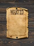 Wanted dead or live blank poster. Wild west background. Royalty Free Stock Photo