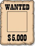 Wanted 5000 dolars empty paper Stock Image