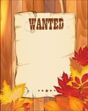 Wanted empty poster. paper on wooden fence with autumn leaves.  Royalty Free Stock Photography