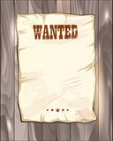 Wanted empty poster. template on grey wooden fence. Stock Photography