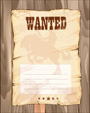 Wanted empty poster. template on wooden fence. Royalty Free Stock Image