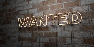 WANTED - Glowing Neon Sign on stonework wall - 3D rendered royalty free stock illustration Stock Photos