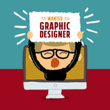 Wanted Graphic designer poster Stock Photography