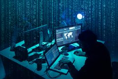 Wanted hackers coding virus ransomware using laptops and computers. Cyber attack, system breaking and malware concept. stock photo