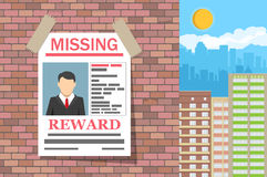 Wanted man paper poster. Missing announce Royalty Free Stock Photography