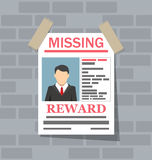 Wanted man paper poster. Missing announce. On brick wall. vector illustration in flat style Royalty Free Stock Image