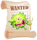 A wanted monster. Illustration of a wanted monster on a white background Stock Images