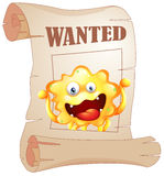 A wanted monster in a poster Stock Photo