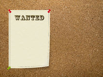 Wanted notice on office bulletin board, corkboard. Wild West Style poster - ideal recruitment etc royalty free stock images
