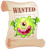 A wanted one-eyed monster in a poster. Illustration of a wanted one-eyed monster in a poster on a white background Stock Images