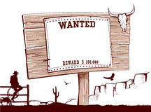 Wanted paper on wood board for text. Stock Image