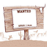 Wanted paper on wood board for text.Western background Stock Images