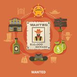 Wanted Person Cowboy Round Composition Stock Photos