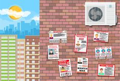 Wanted person paper poster. Missing announce. Wanted person paper poster on brick wall. Missing announce. Information tear off papers. Search for lost person in stock illustration