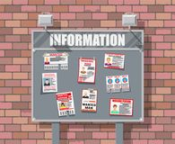 Wanted person paper poster. Missing announce. Information tear off papers. Search for lost person in big city. Brick wall. Vector illustration in flat style Royalty Free Stock Photos